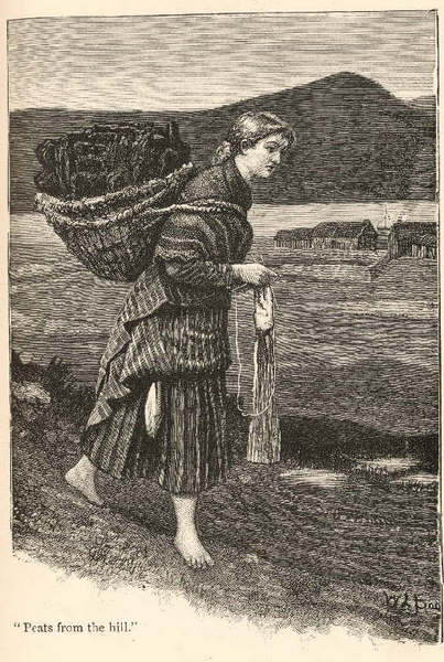 "In Shetland, they knit while they walk as in this drawing of a girl carrying a kishie full of peat. ""Shetland Knitter"", from ""Britta, A Shetland Story"", George Temple. ©Shetland Museum, Lerwick, Shetland, #01434"